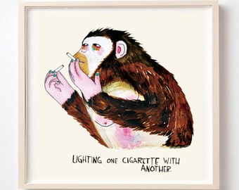 Art Print, Painting, Monkey, Animals, Smoker, Chain Smoker, Poster, humor, Quirky art, Funny Gift, Lighting One Cigarette With Another