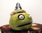 Mini Zombie Halloween Pumpkin - Jack O' Lantern - Paperclay