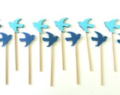 Blue Dove Cupcake Toppers - Set of 12 Toppers