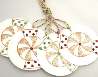 Peppermint Candy Gift Tags - Set of 4