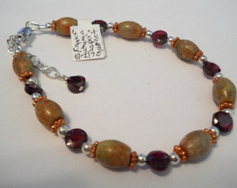 Garnet and Autumn Jasper Sterling Silver and Copper Bracelet