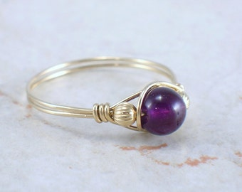 14kt Gold Filled Amethyst Wire Wrapped Bead Ring