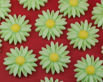 6 Vintage Green Flower Daisy Cabochons Flat Back 26mm