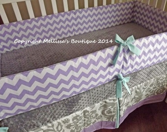 Custom Lilac/Lavender with Grey & Aqua Chevron 2-Piece Boutique Crib Nursery Bedding Set Bumper and Crib Skirt