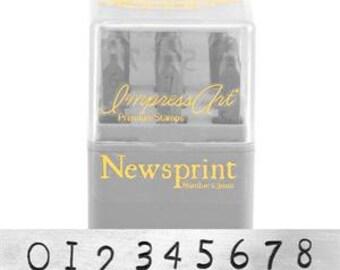 "NEWSPRINT PREMiUM - Numbers Typewriter font by ImpressArt - 1/8"" (3MM) size"
