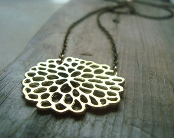 Gold Chrysanthemum Necklace Metalwork Simple Modern Flower Jewelry Asian Style Gifts Under 30 Zen Brass Jewelry Floral