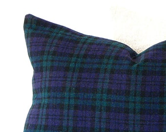 Pillow/ Navy Blue Plaid Tartan Wool Pillow/ holiday decor/ winter decor