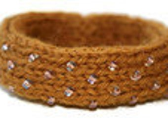 Dew Drop Knitted Bangle Bracelet in Gold - Small