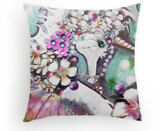 Unicorn of the Sea, Designer Pillow cover, created from original Art, FREE print included
