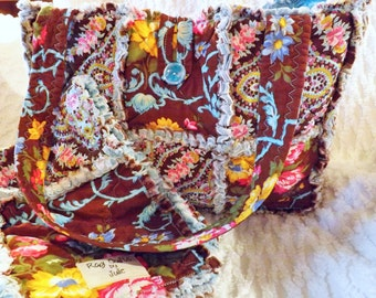 Rag Quilt Diaper Bag with Matching Lovey - Brown Blue - Bottle Pockets - Handmade - Baby Tote - Baby Lovey - Rag Quilt Lovey