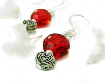 Cherry Blossom - Red Glass Faceted Coin Bead Wire Wrapped Dangle Earrings