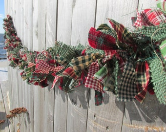 Christmas Lights Burlap Rag Garland Homespun Fabric Red White Bright Green Christmas Garland Holiday Decor