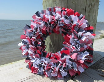 Buffalo Check Rag Wreath Bright Americana Homespun Fabric 4 th of July, Military Red White Blue Wreath