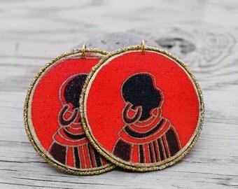African Earring, African Fabric Earrings, Statement Earrings, Big Wood Earrings, African Woman Fabric Earrings