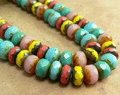 Picasso Mix Czech Glass Bead Gemstone Rondell Donut Fire Polished Multicolor 4x7mm (42)