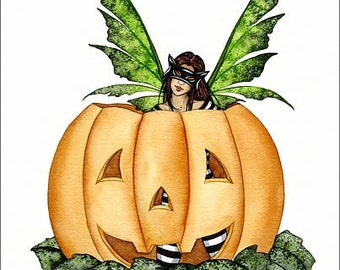Amy Brown Print Fairy Faery Halloween Pumpkin Fantasy Art Retired
