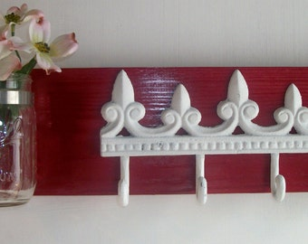 Cherry Red Iron Fleur de Lis Coat Key hanger Mason Jar Flower Holder