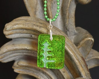 Pine Tree Lime Carved Dichroic Glass Pendant - FREE SHIPPING!