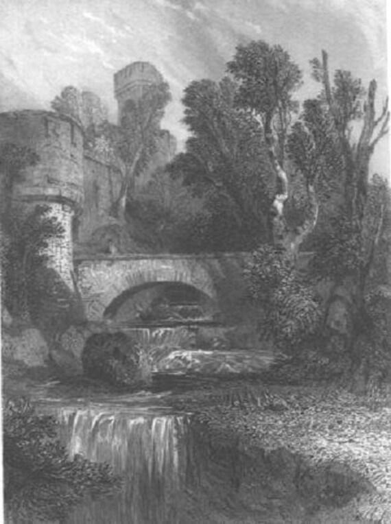 Warwick Castle Amp Bridge England 1800s Vintage Art Antique Art