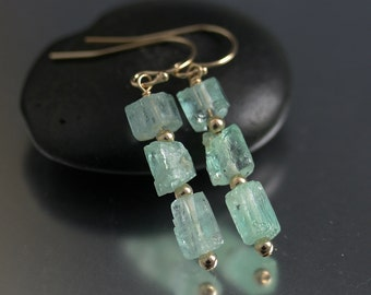 MADE TO ORDER Emerald Crystal Earrings in Gold Fill