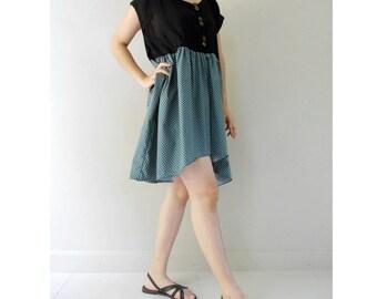 Unique Blue Pockadot  and Black Cotton Boho Short Cute Dress Fit S-L  (BD 01)