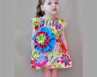 Bohemia Flower Dress Sewing Pattern/Tutorial sizes 6m - 12 girls and doll PDF