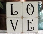 Valentine Sign LOVE Shelf Sitter Blocks Wedding Decor Stacking Blocks