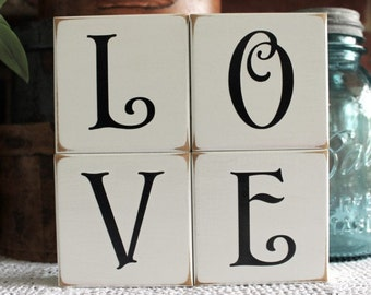 Valentine Sign LOVE Shelf Sitter Blocks Wedding Decor Stacking Blocks