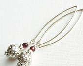 VALENTINES SALE Sterling Silver Earrings - Garnet with Polka Dot Beads