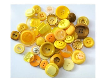 42 Buttons, antique and vintage plastic yellow buttons, assorted shapes and shades