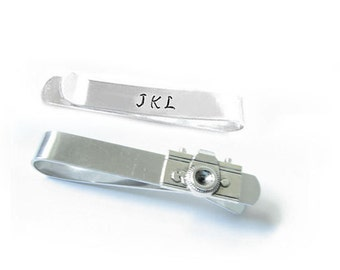 Camera Initial Tie Clip, Tie Bar, Personalized Tie Bar, camera bar tie clasp, camera tie bar, Hand Stamped Tie Bar