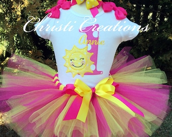 Baby Girl 1st Birthday Tutu - You are my sunshine birthday - Pink and yellow birthday tutu