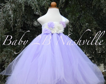 Floral Flower Girl Dress in Lavender and White Lavender Dress Purple Dress Baby Dress Toddler Dress