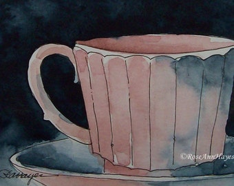 Pink Coffee Cup Original Watercolor Painting ACEO