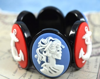 Shipwrecked Cameo Bracelet - Blue Lady Death with a Red and White Anchor Stretch Bracelet
