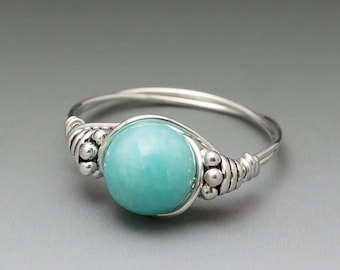 Peruvian Blue Amazonite Bali Sterling Silver Wire Wrapped Bead Ring - Made to Order, Ships Fast!