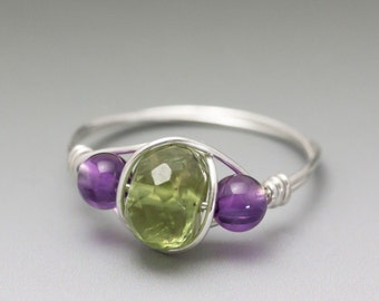 Peridot Faceted & Amethyst Sterling Silver Wire Wrapped Bead Ring - Made to Order, Ships Fast!