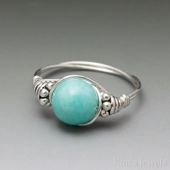 Peruvian Blue Amazonite Bali Sterling Silver Wire Wrapped Ring ANY size