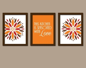 Kitchen wall art canvas artwork colorful bold orange brown - Kitchen canvas wall decor ...