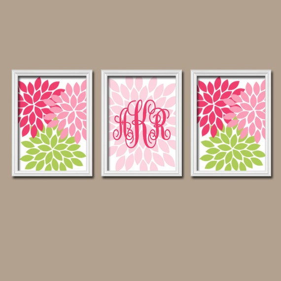 Pink And Green Wall Decor For Nursery : Monogram wall art baby girl nursery pink by trmdesign