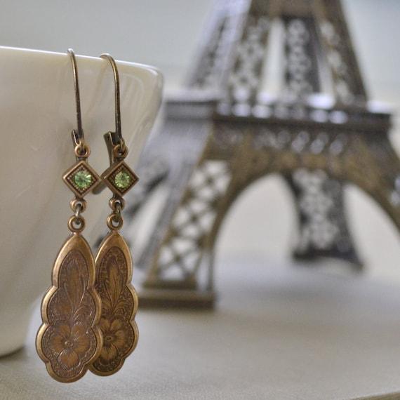 Peridot Estate Earrings, Art Nouveau, Vintage Brass, Flower Pendant Earrings, Old Hollywood Earrings, Antique Brass Lever Back Earrings
