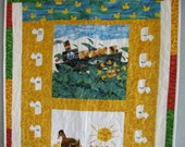 Baby Quilt Sale Reversible Wall Hanging or Quilt using fabric from Andover With or Without Board Book