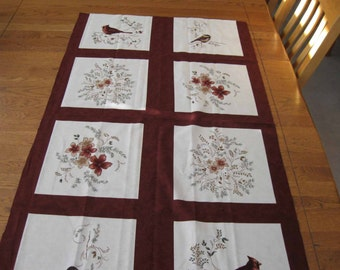 Birds of Winter Quilted Table Runner
