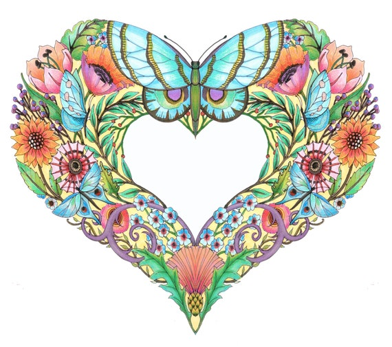 open hearts coloring pages for adultsset of 10