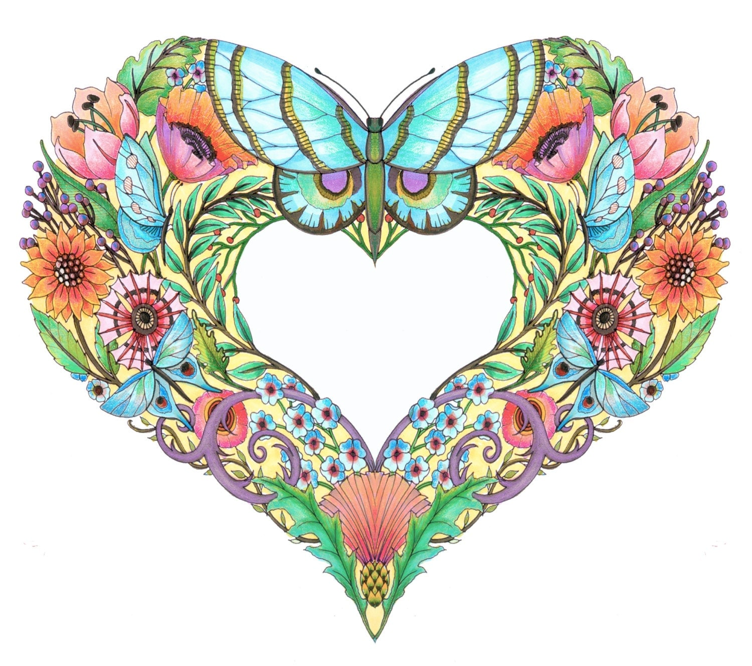 Open hearts coloring pages