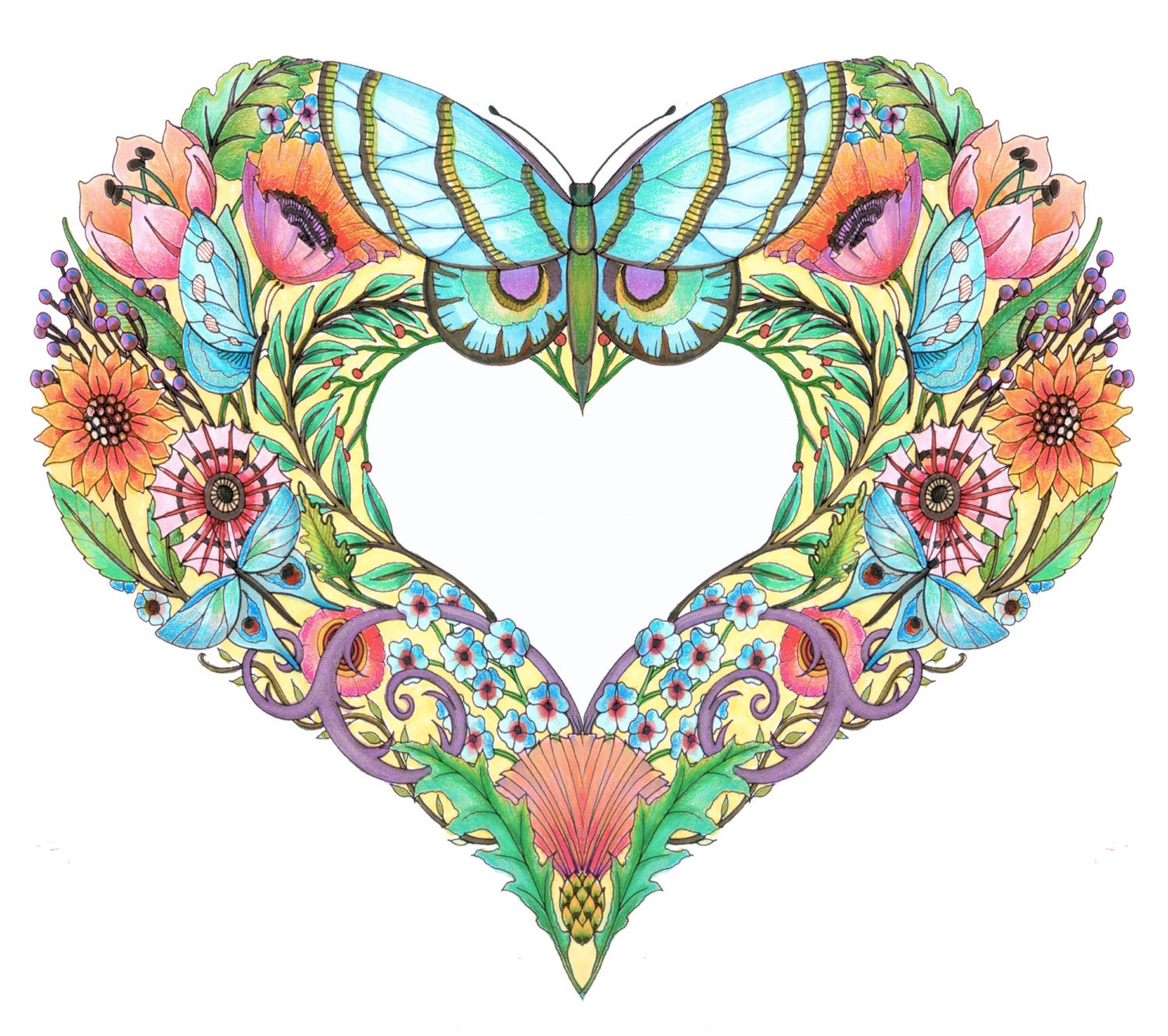 Open Hearts Coloring Pages For Adults Set Of 10