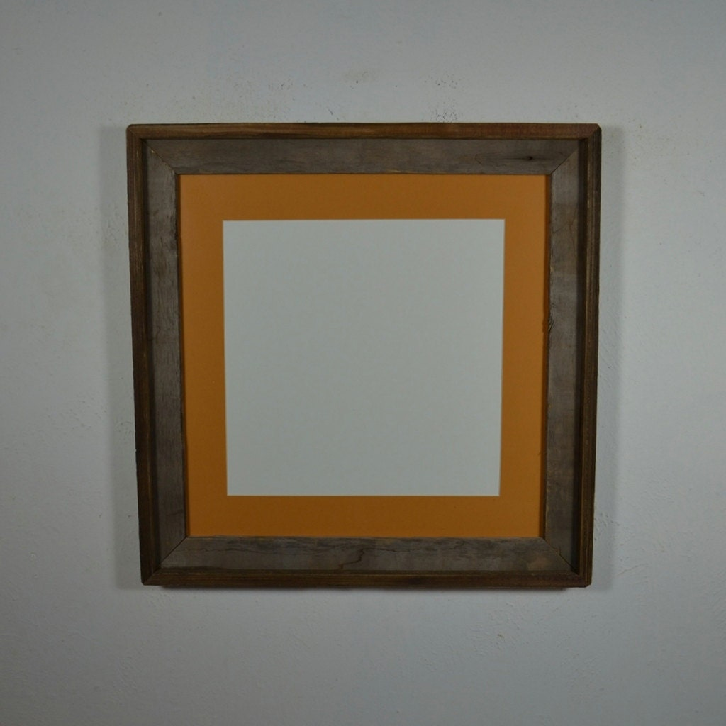 16x16 Rustic Barnwood Frame With 12x12 Mat