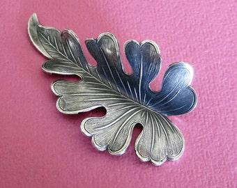 NEW Large Silver Leaf Embellishment 3520