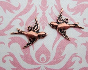 NEW 2 Copper Bird Charms 1530C