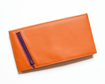 Leather Travel Wallet, Womens Passport Boarding Pass Holder, Large Monogrammed Wallet, The Stella Travel Wallet Clutch in Orange